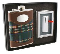 "Visol ""Edinburgh"" 8oz Plaid Cloth Stainless Steel Flask and Lighter Gift Set . $39.95"