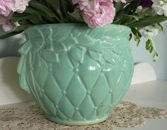 Vintage Aqua McCoy Pottery Jardiniere Planter by robinseggbleunest