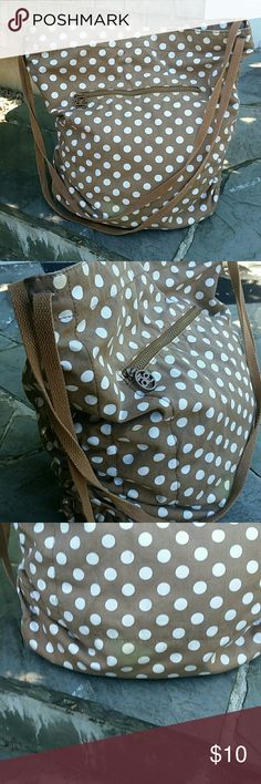 American Eagle Outfitters tote Good condition no rips small sun bleach spot near bottom of bag. Taupe and white polka dots canvas straps super cute for weekend Knockaround bag American Eagle Outfitters Bags Totes