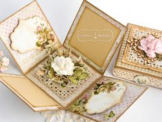 Klaudia/Kszp, Exploding box with mulbery paper rose in center Scrapbook Box, Scrapbooking, Boite Explosive, Box Cards Tutorial, Card Tutorials, Exploding Gift Box, 16th Birthday Card, Swing Card, Magic Box