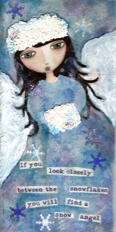 Snow Angel  Mixed Media Original Painting by PaintingsByShelly, $50.00