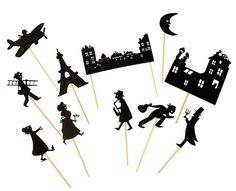 Paris themed set of Shadow Puppets for children