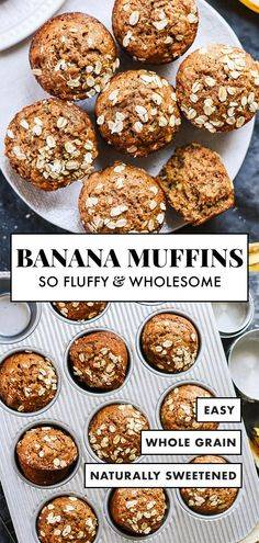 Banana Muffins This healthy banana muffin recipe is made with whole grains, naturally sweetened and so DELICIOUS! They're easy to make and good for you, too!This healthy banana muffin recipe is made with whole grains, naturally sweetened and so DELICIOUS! Keto Desserts, Dessert Recipes, French Desserts, Italian Desserts, Apple Desserts, Baking Desserts, Cake Baking, Dessert Bars, Bread Baking