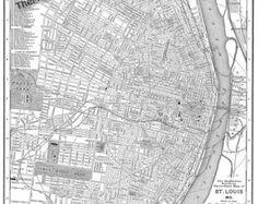 "1895 St Louis Missouri Street Map Vintage 16"" x 20"" Print Poster"