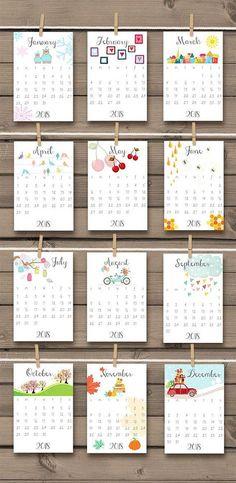 PRINTABLE 2018 & 2017 calendar 2018 Wall calendar Desk
