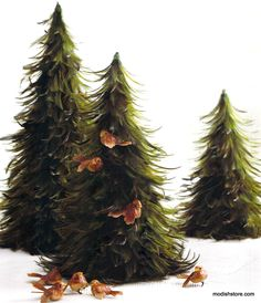 Roost Feather Trees - Green
