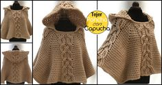 Today Design Birdy presents you another beautiful crochet project – twist cable hooded poncho.This poncho looks very beautiful , it's perfect for the autumn season. Tunisian Crochet, Crochet Shawl, Diy Crochet, Poncho Design, Hooded Poncho, Beautiful Crochet, Crochet Clothes, Crochet Projects, Sewing