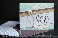 Another Thank You Card and matching envelope with one sheet of Designer Series Paper by Cindy Schuster