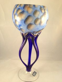 ALICJA Art Glass Sculpture Bowl Jellyfish Octopus Blue Hand Blown Made in Poland on Etsy, $98.82 AUD