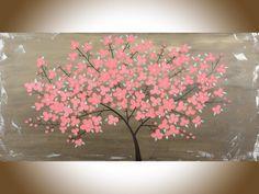 Moderne abstrakte Malerei rosa Baum Blumen braune große Wand shabby chic Öl Kunstlandschaft Malerei Kunst Büro Wanddekor von qiqigallery