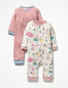 What's better than a cosy romper in supersoft cotton? Two rompers, of course. This twin pack features a playful circus print and a sweet polka-dot set, so there's always one to wear when the other's in the wash. Poppers down the front and leg make changes super-speedy.