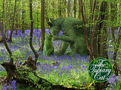 Tolly giving Georgi a few tips in the bluebell woods. By Richard Saunders - Surrealist Artist