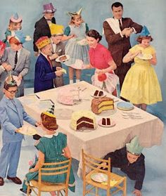 When girls wore dresses to birthday parties. and school, and church, and to town. Some exceptions: backyard, playground, bowling. but not many :) illustration
