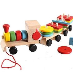 YIXIN Wooden Stacking Block Pull Along Train Stacker Stacking Puzzle Train for…