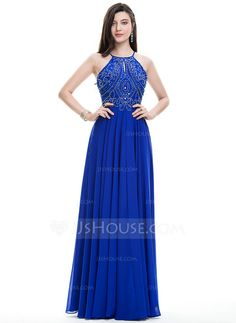 A-Line/Princess Scoop Neck Floor-Length Chiffon Prom Dress With Beading Sequins (018107795)