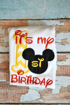 Yellow Chevron Mickey Mouse Birthday Shirt  by SpoiledSweetkids, $16.00