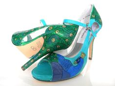 Wedding Shoes tiffany blue and peacocks sexy high by norakaren, $295.00