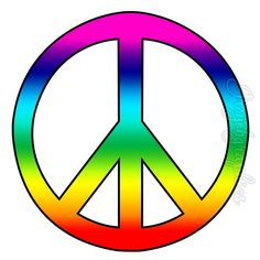 Rainbow Peace Sign Wall Decals Art Peel & Stick Wall Stickers Love Peace Groovy Hippie PC14 by VWAQ on Etsy