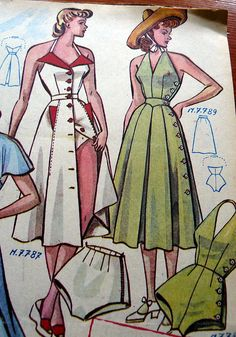 Late 40s French pattern catalog playsuit dress green white red pattern