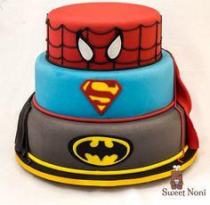 Super Hero Cake, batman, Super man and Spider man