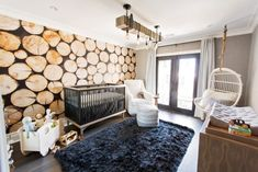 Stacked logs nursery wall mural brings an organic, fun and rustic feel to a cottage nursery design. Nursery Wall Murals, Nursery Wallpaper, Nursery Themes, Cool Wallpaper, Nursery Room, Nursery Ideas, Room Ideas, Wallpaper Murals, Themed Nursery