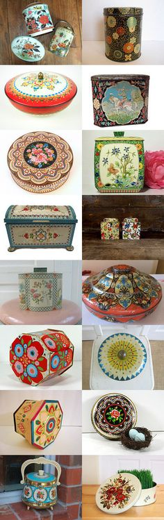 Vintage Metal Tins by Carrie Crocker on Etsy--Pinned with TreasuryPin.com