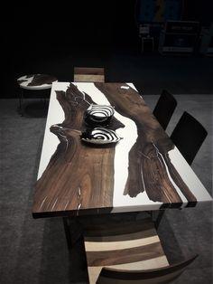 Walnut epoxy resin table with walnut epoxy consollive