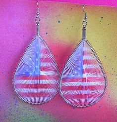Patriotic American Flag String Art USA July 4th Dangle Earrings Red White Blue