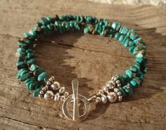 Double turquoise chip and sterling silver bracelet by kudzupatch