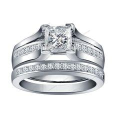 2.00 CT Princess Cut Diamond Straight Flush Women's Bridal Engagement Ring Set #Aonedesigns