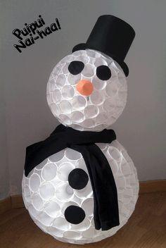 Muñeco de Nieve con vasos de plástico!