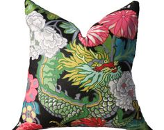 Chiang Mai Dragon Pillow Cover -  Schumacher - Chinoiserie Pillow - Turquoise Black Blue Red Pink and Gold Pillow - Designer Floral Pillow
