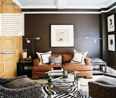 The leather sofa, the glints of metal, and the dark walls lend this room a clubby atmosphere. - Traditional Home ® / Photo: Patrick Cline / Design: Ron Marvin Decor, Masculine Living Rooms, Room Design, Living Spaces, Home Decor, House Interior, Masculine Room, Brown Living Room, Living Room Designs