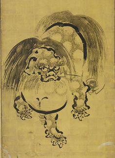 舞楽図屏風 ・唐獅子図屏風<br/>Bugaku Dances (front); Chinese Lions (reverse)