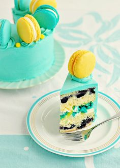 Lemon-Blueberry Macaron Delight Cake Slice by Sweetapolita, via Flickr this is too cute