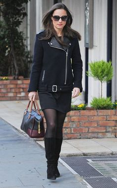 Pippa Middleton adds some edge to her outfit with a moto jacket featuring a leather collar in London.