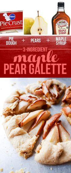 La pasta de empanada + Peras + = jarabe de arce arce pera Galette