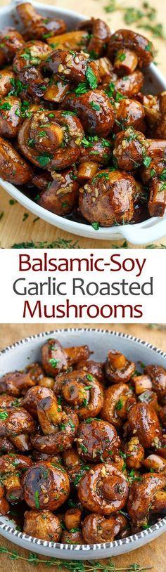 Soy Roasted Garlic Mushrooms Simple and tasty mushrooms roasted in a balsamic-soy and garlic sauce!Simple and tasty mushrooms roasted in a balsamic-soy and garlic sauce! Veggie Recipes, Vegetarian Recipes, Cooking Recipes, Healthy Recipes, Cooking Tips, Cake Recipes, Simple Vegetarian Meals, Healthy Mushroom Recipes, Chicken Recipes