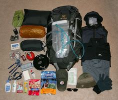 If I'm doing a backcountry trip, this is what I bring with me. My tent is in the bag, and I forgot to add a pair of shorts and rain pants.