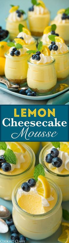 Cheesecake Mousse - Cooking Classy Lemon Cheesecake Mousse - the ULTIMATE spring dessert! These are to die for! No one can stop at one bite!Lemon Cheesecake Mousse - the ULTIMATE spring dessert! These are to die for! No one can stop at one bite! Mini Desserts, Spring Desserts, Delicious Desserts, Yummy Food, Party Desserts, Pudding Desserts, Easy Lemon Desserts, Lemon Dessert Recipes, Refreshing Desserts