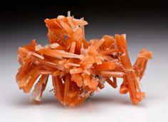 "Beautiful orange-red ""jackstraw"" crystals of quartz from 2nd Sovietskii Mine, Dal'negorsk, Primorskiy Kray, Far-Eastern Region, Russia"