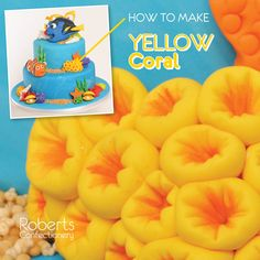FInding Dory Cake: How to make Yellow Coral - Mould a small amount of fondant… Finding Nemo Cake, Finding Dory, Cake Decorating Techniques, Cake Decorating Tutorials, Dory Cake, Little Mermaid Cakes, Foundant, Powder Dye, Sea Cakes