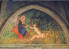 God draws Eve from sleeping Adam's body.   Bartolo di Fredi, Collegiata, San Gimignano, 14e eeuw.    #adam #eve http://www.overaladameneva.nl #creation
