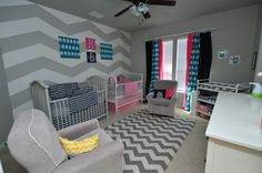 Grey and White Chevron Nursery for Boy/Girl Twins! #chevron #nursery