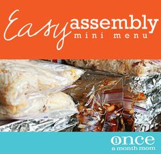 Easy Assembly Mini January 2013 Menu- #freezer cooking