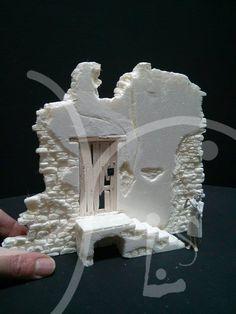 un muro de piedras invernal Lemax colonial stone wall modelismo