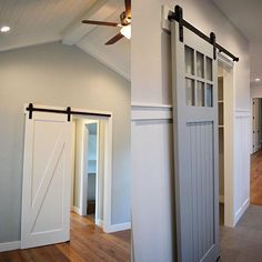 Barn door with glass above paired with board and batten, love the gray color with dark gray tile floors