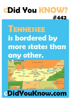 Umm, excuse me.Tennessee is TIED with MISSOURI for border states.each have 8 - including each other!