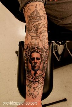 H.P. Lovecraft. amazing tattoos...I would love to see a finished version of this tattoo.... just beautiful.