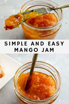 Delicious homemade mango jam with perfect balance of chili and sweetness from fresh mangoes. An easy way to use leftover ripe mangoes. A quick jam recipe with no canning and no preservatives. Mango Recipes, Jelly Recipes, Jam Recipes, Canning Recipes, Fruit Recipes, Mango Desserts, Dessert Recipes, Chutney Recipes, Relish Recipes
